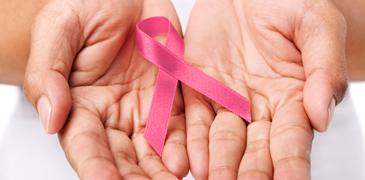 Hands with Breast Cancer Ribbon