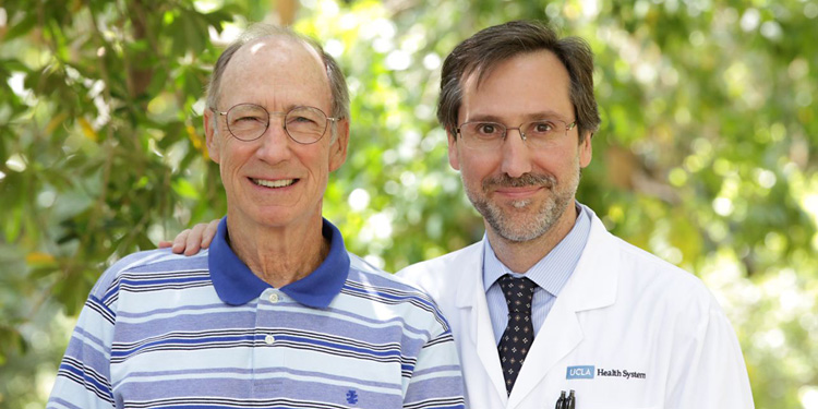 Patient Tom Stutz with UCLA cancer pioneer Dr. Antoni Ribas