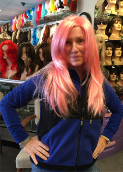 Debi Fournier in pink wig